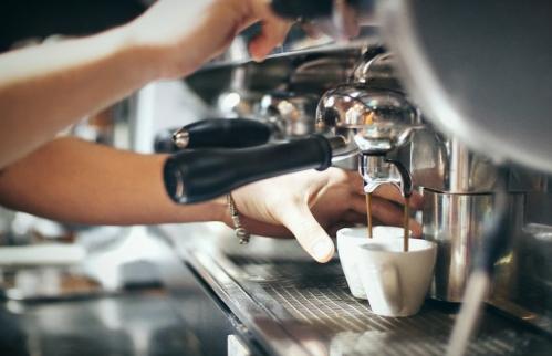 Making an espresso.
